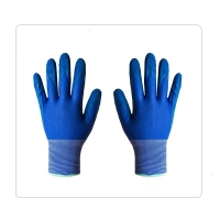 China Blue Gardening Polyester Liner Latex Work Gloves