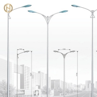 Quality IP65 Galvanized 12M Single Arm Street Light Pole for sale
