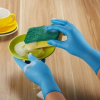 China Inspection Anti Pollution Stretchable Nitrile And Latex Gloves