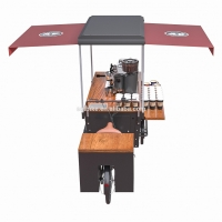 China Anti Oil Box Structure Wood Tricycle Coffee Vending Cart