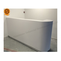 China Antipollution White Small Reception Desk With Modified Acrylic Material