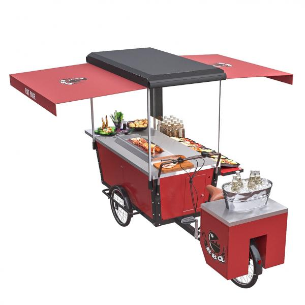 Quality 125L Mobile Stainless Steel Table Top BBQ Food Bike for sale