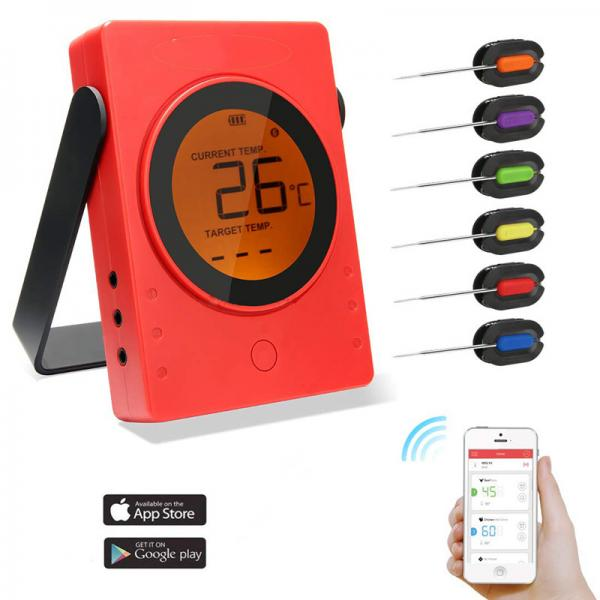 China 6 channels Bluetooth Food Thermometer with Free App