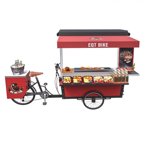 Quality 350W Outdoor Mobile Food Tricycle Bbq Vending Cart for sale