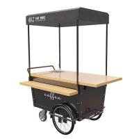 China Coffee Hand Push Cart Vendor With 304 Stainless Steel Work Table