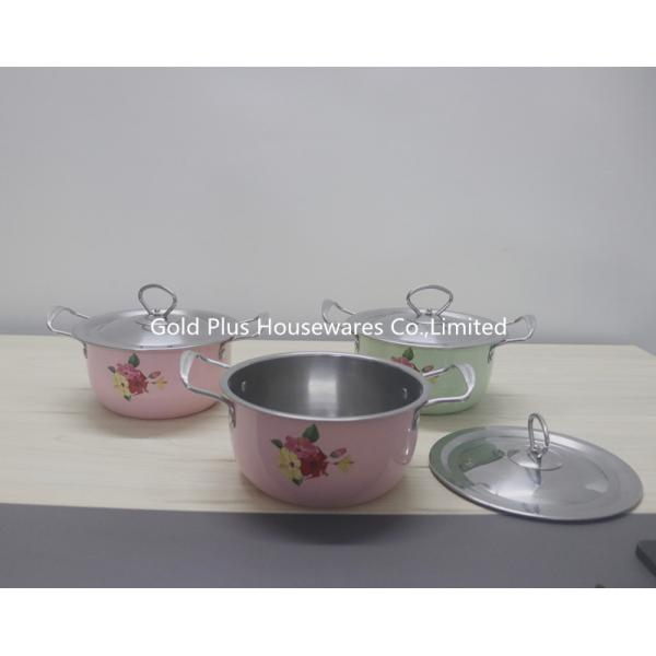 China 20cm 0.085CBM Stainless Steel Cooking Pot With Two Handle