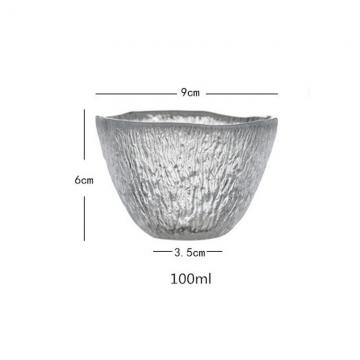 China Lead Free 100ml Clear Retro Tree Pattern Glass Teacup