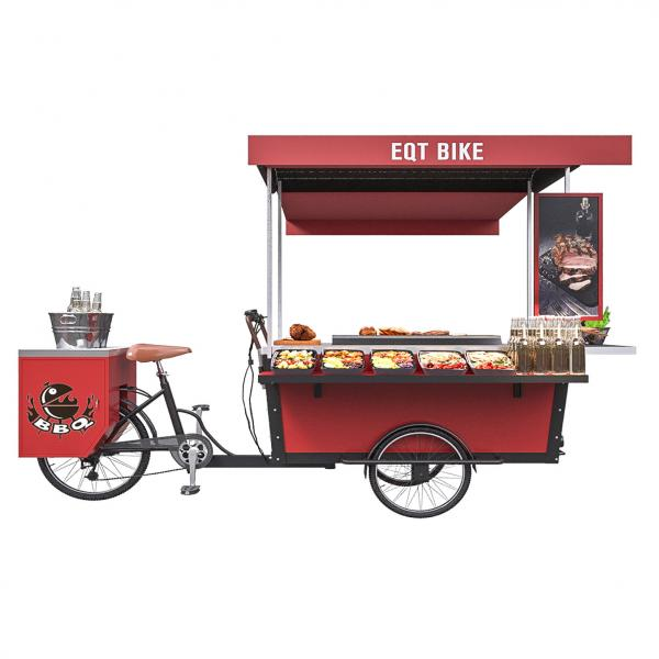 Quality Stainless Grilled Food 50km/H BBQ Tricycle Hot Dog Cart for sale