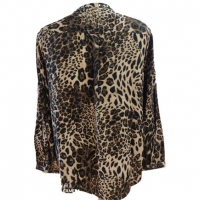 China New Design V Neck Leopard Print Long Sleeve Lady Casual Women Top Shirt Blouses