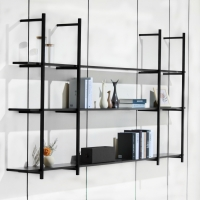 China SGS 1650mm Height 3 Layer Aluminum Frame Wall Bookshelf