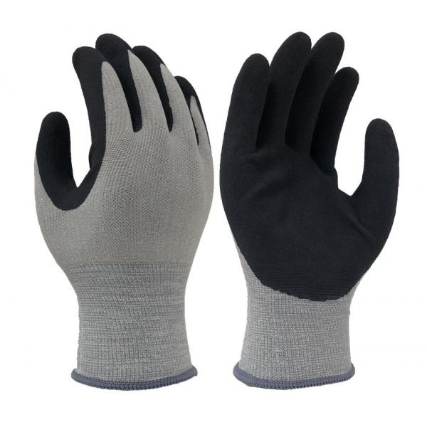 China 15G Gardening Cool Fiber Spandex Black Sandy Latex Coated Hand Gloves